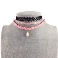DANZE 2017 Vintage Colorful Leather Choker Necklaces For Women Tattoo Chocker Collar Star Crystal Pendant Necklace 3 pcs/set
