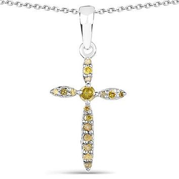 Ethically Mined Natural Yellow Diamond Cross Pendant Necklace