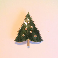 Christmas Tree Pin Brooch Green Enamel Scatter Lapel Vintage Jewelry Jewellery Accessory Gift Guide Women Cottage Chic