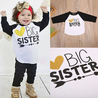 Baby Boy Girl Kids BIG SISTER Cotton Long Sleeve T-shirt Tops Tees Casual Blouse