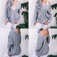 REVERSIBLE 2-IN-1 BRIA OVERSIZED KNITTED SWEATER (GREY) - FULLY STOCKED - PREORDER