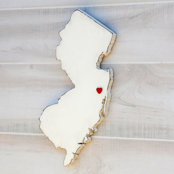 New Jersey state shape sign wood cutout wall art with heart or star 24 Colors. Wedding Guestbook Anniversary Gift Country Cottage Chic Decor
