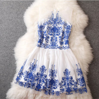 Embroidered Dress in Blue
