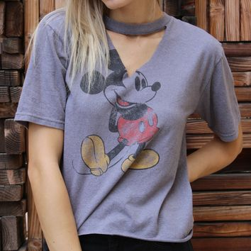 Grey Mickey Cut Out Tee