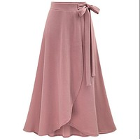 Skirts female irregular Elastic waist plus size XL- 5XL 6XL spring autumn high waisted loose sheds skirt womens Bowknot skirts