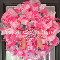 Baby Wreath, Baby Shower Decoration, Baby Welcoming Wreath, Birth Announcement, It's a Girl, Baby Gift, Monogram