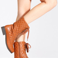 Bamboo Quilted Lace Up Combat Boots
