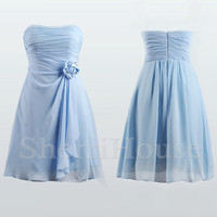 Ruffled Sweetheart Strapless Flower Short Bridesmaid Celebrity Cocktail Dress , Chiffon Evening Party Prom New Homecoming Dress