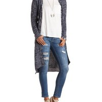 Marled Duster Cardigan Sweater by Charlotte Russe - Navy