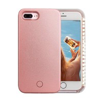 iPhone 7 Plus Case, Wellerly LED Illuminated Selfie Light Cell Phone Case Cover [Rechargeable] Light Up Luminous Selfie Flashlight Case for iPhone 7 Plus 5.5inch (Rose Gold)