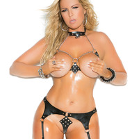 Plus Size Leather 'n Chains Bra and Garter