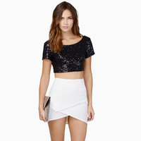 Sequined Short Sleeve Cropped Top