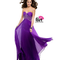 (PRE-ORDER) Flirt by Maggie Sottero 2014 Prom Dresses-Purple Passion Pleated Chiffon Strapless Beaded Lace Prom Dress