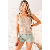 Francine Cable Knit Tank Top (Natural)