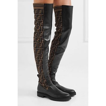 Fendi Logo-jacquard Stretch-knit And Leather Over-the-knee Boots #873