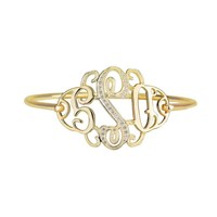 Gold Monogram Bangle - Rhinestone Initial
