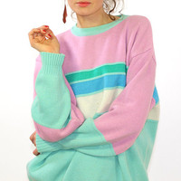 Cute sweater, vintage jumper, pastel pink women sweater, mint green, pink, 90s, wool sweater, L