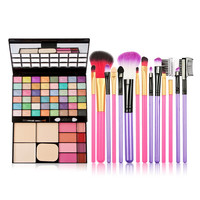 48 Color Makeup Palette + 7PCS Makeup Brush Set Kits Purple/Rose Color For Your Option GUB#
