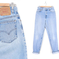 Size 10 LONG Vtg Levi's 550 High Waisted Mom Jeans - 90s Vintage - All Cotton Stone Wash Light Blue Relaxed Fit Women's Jeans - 29 Waist