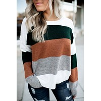 New Ideas Striped Sweater (Green/Camel)