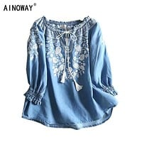 Vintage chic women  Floral embroidery  beach bohemian  denim blouse shirt long sleeve v-neck tassel   loose Boho jeans shirts