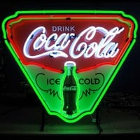 Neon Signs: Coca-Cola Ice Cold Shield Neon Sign at Brookstone—Buy Now!