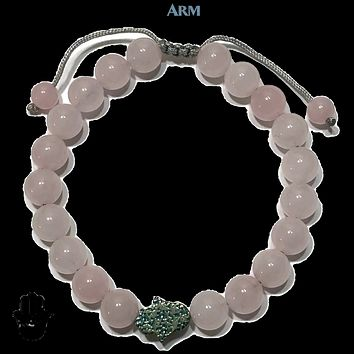 HAPPINESS | Rose Quartz | Hematite Hamsa Hand | Adjustable Pull Tie Bracelet