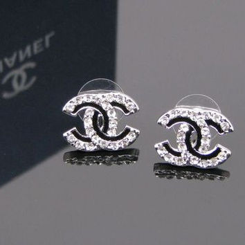 Limited Edition Black Crystal Plated CC Stud Earring with Clear White Crystal