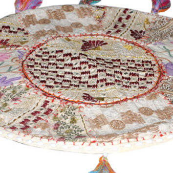 """17"""" Round pouf ottoman Round Floor Pillow Cushion round embroidered Bohemian Patchwork floor cushion pouf Vintage Indian Foot Stool Bean Bag"""