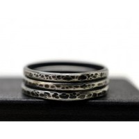 Set of Three Hammered and Oxidized Silver Stacking Rings