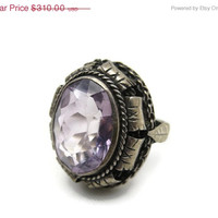 Christmas SALE Rose de France Amethyst Ring - Huge Silver Statement Ring French