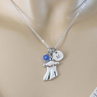 Personalized, Initial, Birthstone, Ghost, Silver, Necklace, Lovers, Friends, Sister, Gift