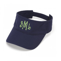 Navy Twill Cotton Visor - Monogrammed Personalized Tennis Beach Pool
