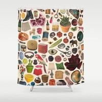 Society6 - Table Of Contents Shower Curtain by Beth Hoeckel Collage & Design