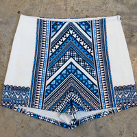 JT White Geometric High Waist Shorts