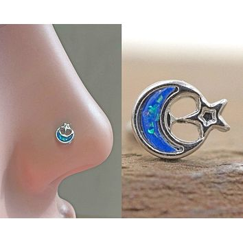 Moon and Star Nose Ring