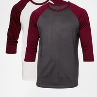 ASOS 3/4 Sleeve T-Shirt With Contrast Raglan 2 Pack