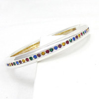 Silver Tone Magnetic Bangle Bracelet Multi Color Rhinestone Bracelet Clamper  Vintage Costume Jewelry Fashion Accessory  Blue Green Red