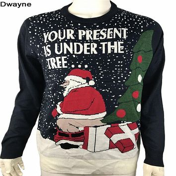 Funny Ugly Christmas Sweaters for Men and Women Knitted Naughty Dirty Jokes Puns Pullover Xmas Sweater Plus Size M-XL