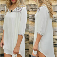 Artisan Homes Ivory Hi-Low Tunic With Embroidered Neckline & Quarter Sleeves