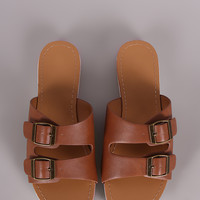 Wild Diva Lounge Double Buckle Slip On Flat Sandal