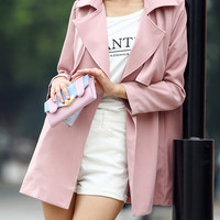 Pink Lapel Wrapped Trench Coat