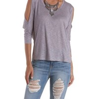 Ribbed Cold Shoulder Dolman Top by Charlotte Russe