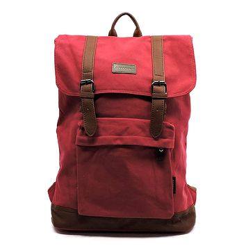 Military Canvas Hiking Backpack Large Red
