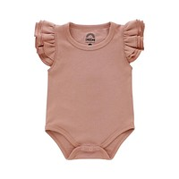 Dusty Rose Flutter Sleeve Baby Onesuit