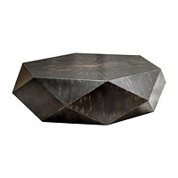 Coffee Table In Black Finish And Brown Undertones