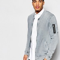ASOS MA1 Bomber Jacket In Jersey With Acid Wash