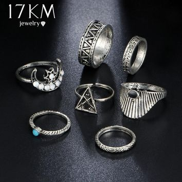 17KM Boho Triangle Stone Midi Finger Ring Set Vintage Punk Carved Knuckle Moon Rings for Women Anillos Party Jewelry 7PCS/Lot