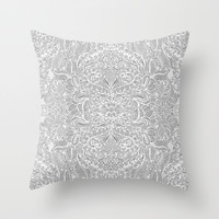 Frost & Ash - an Art Nouveau Inspired Pattern Throw Pillow by Micklyn