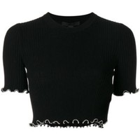 DCCKIN3 Alexander Wang Studded Trim Cropped T-shirt